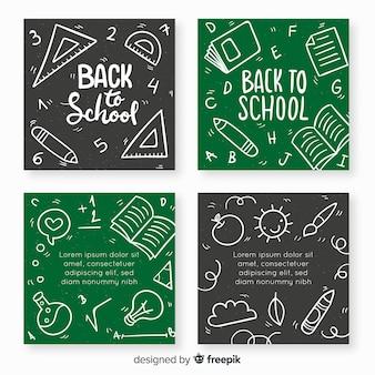 Disegnato a mano torna alla raccolta del modello di carta di scuola