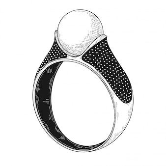 Disegnato a mano un anello dei gioielli isolato su bianco