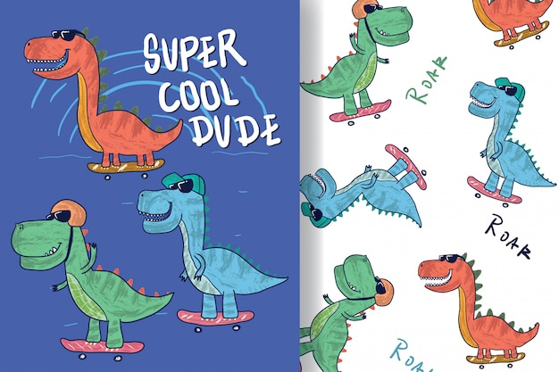 Disegnato a mano un simpatico dinosauro con motivo modificabile