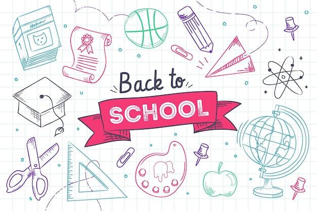 Disegnato a mano variopinto di nuovo al fondo della scuola