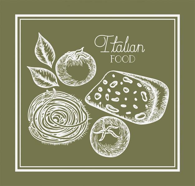 Disegnato cibo italiano di piante e formaggi di pomodoro