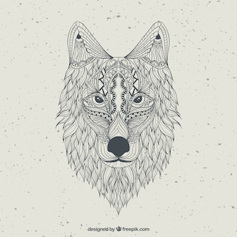 Disegnato lupo astratto mano