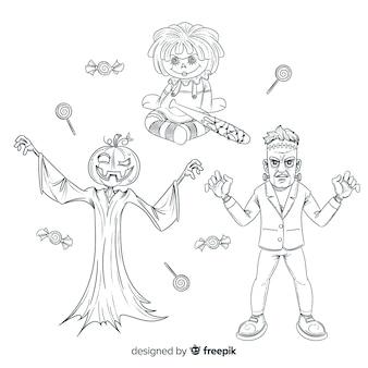 Disegni a matita della collezione di personaggi di halloween