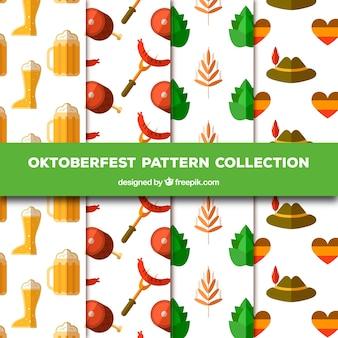 Disegni con elementi piatti tradizionali di oktoberfest