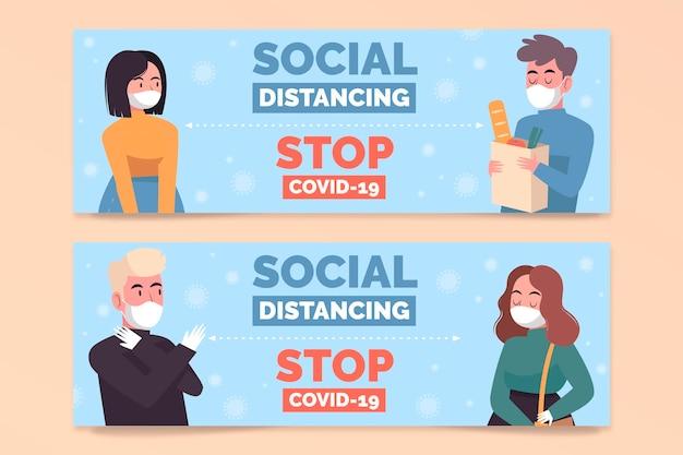 Disegni di banner a distanza sociale