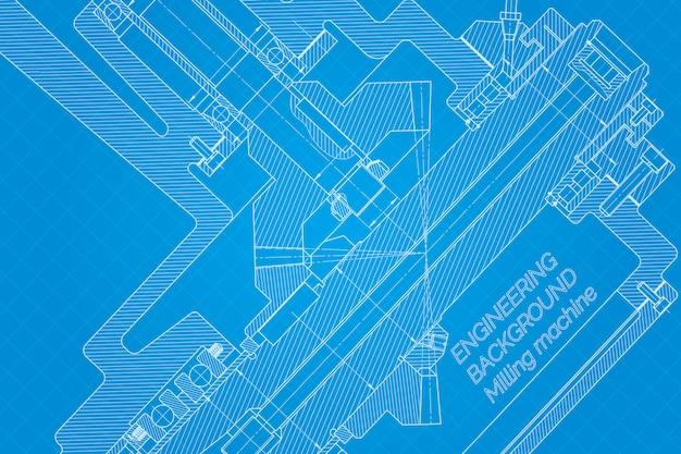 Disegni di ingegneria meccanica su fondo blu. mandrino per fresatrice. disegno tecnico. copertina. planimetria.