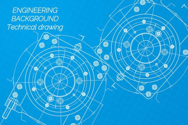 Disegni di ingegneria meccanica su fondo blu