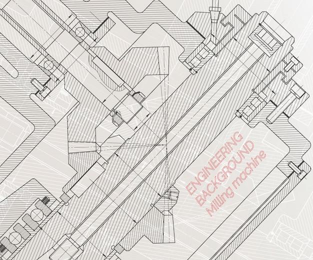 Disegni di ingegneria meccanica su sfondo chiaro. mandrino per fresatrice. disegno tecnico.