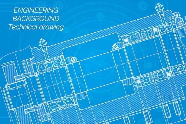 Disegni di ingegneria meccanica sul blu