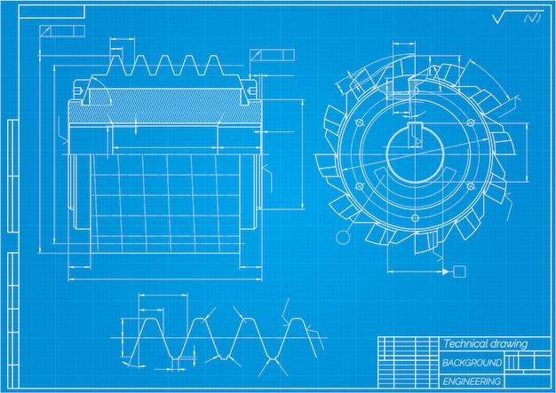 Disegni di ingegneria meccanica. utensili da taglio, fresa. disegno tecnico