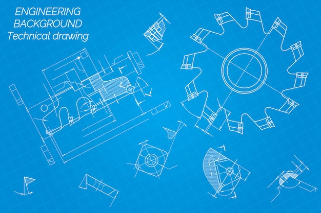 Disegni di ingegneria meccanica. utensili da taglio, fresa.