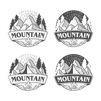 Disegni di logo all'aperto e avventura disegnati a mano