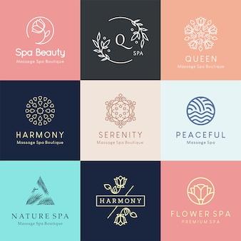 Disegni di logo floreali moderni per centro benessere, salone di bellezza o studio di yoga.