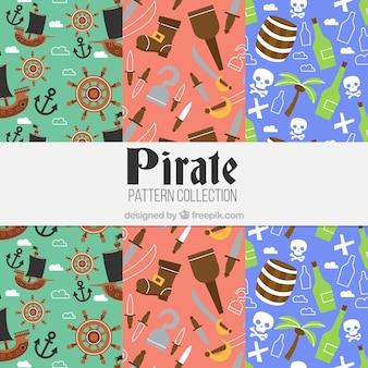 Disegni di pirata con elementi in design piatto