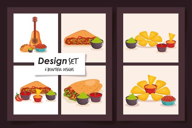 Disegni di progettazione tradizionale dell'illustrazione di vettore del messico dell'alimento