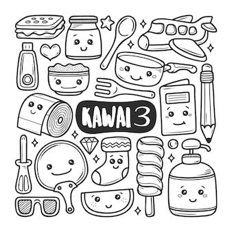 Disegni disegnati a mano doodle doodle icone kawaii