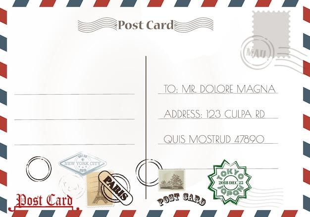 Disegni e francobolli di cartoline d'epoca