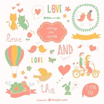 Disegni grafica amore vector set