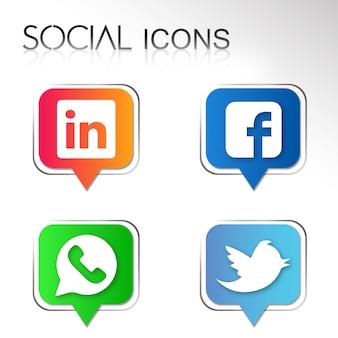 Disegni grafici di icone sociali di vettore