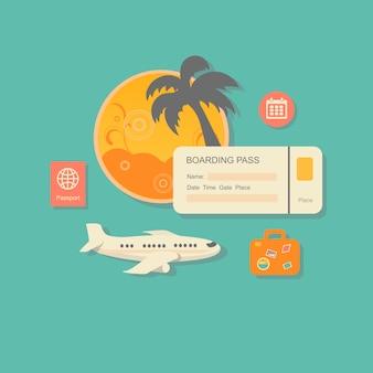 Disegni il concetto moderno dell'illustrazione di vettore di pianificazione delle vacanze estive