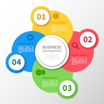Disegni infografici di cerchi multicolori