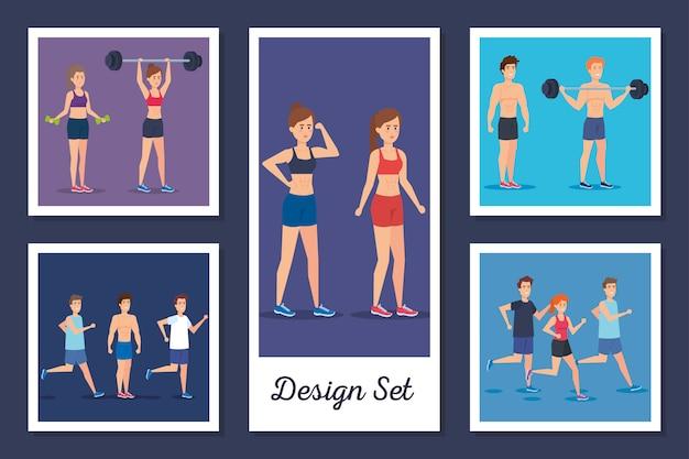 Disegni insieme di persone che praticano esercizio fisico