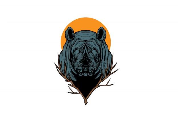 Disegni meravigliosi dell'illustrazione della testa di rinoceronte