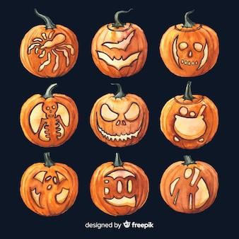 Disegni professionali dell'acquerello di halloween sulle zucche