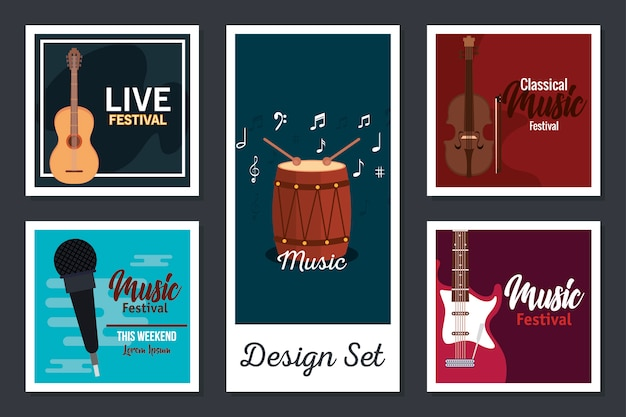 Disegni set poster di strumenti musicali