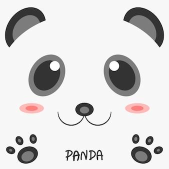 Disegno 2d dell'immagine del panda animale del disegno astratto.