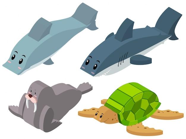 Disegno 3d per gli animali del mare