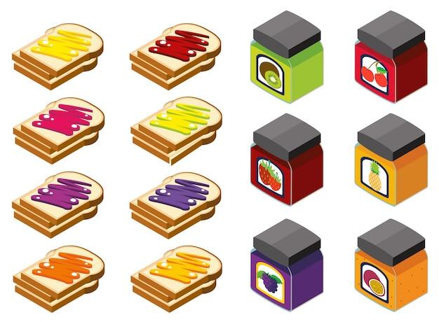 Disegno 3d per il pane e diversi sapori di marmellata