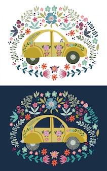 Disegno a mano auto cartone animato carino con molti elementi e motivi floreali. doodle piatto