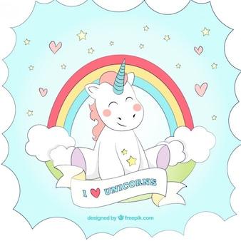 Disegno a mano bello sfondo unicorno con un arcobaleno