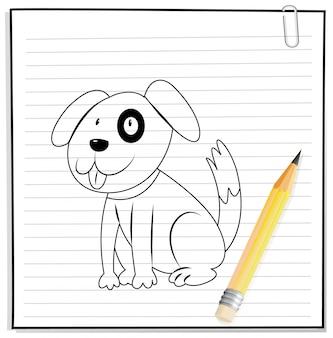 Disegno a mano del simpatico cane contorno