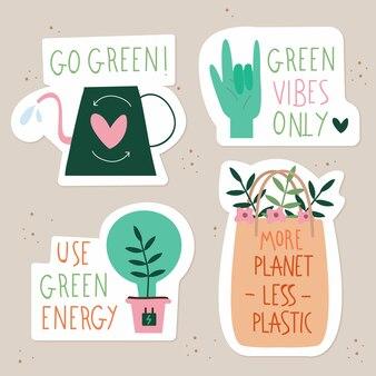 Disegno a mano della collezione di badge ecologici