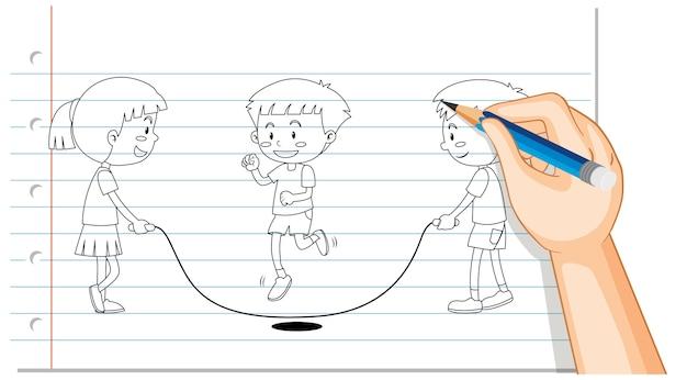 Disegno a mano di bambini che saltano contorno di corda