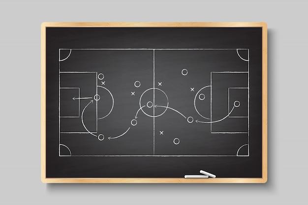 Disegno a mano di gesso con strategia di gioco del calcio.