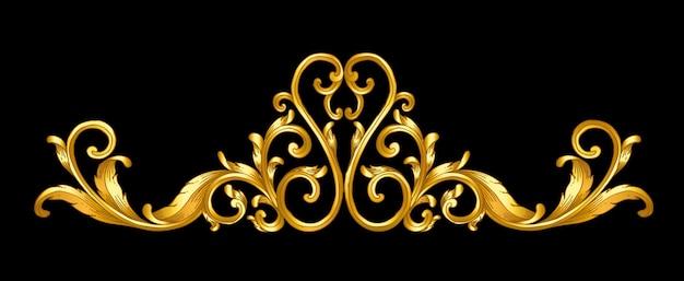 Disegno a mano di scorrimento di cornice barocca oro
