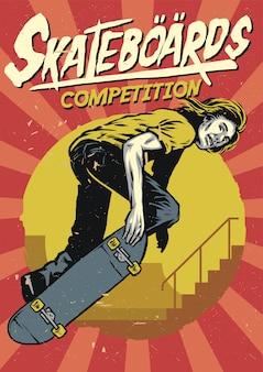 Disegno a mano di skateboard poster design