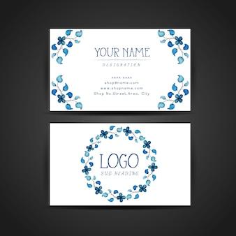 Disegno a mano disegnato a mano blu floral business card design