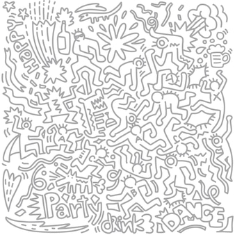 Disegno a mano doodle funny party people