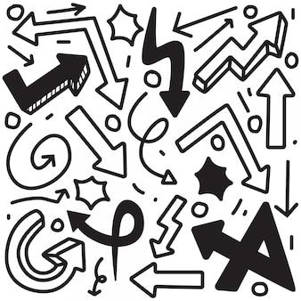 Disegno a mano freccia doodle
