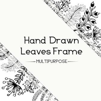 Disegno a mano in bianco e nero di design floreale