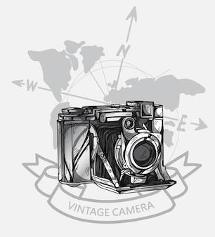 Disegno a mano macchina fotografica d'epoca