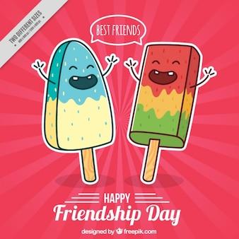 Disegno a mano simpatici personaggi gelato amicizia day background