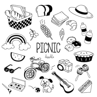 Disegno a mano stili di oggetti da picnic
