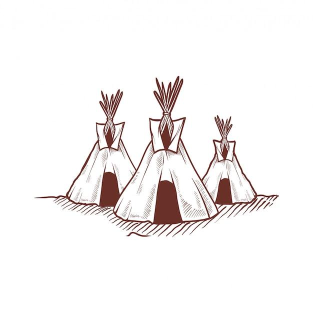 Disegno a mano tenda indiana teepee