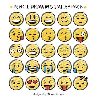 Disegno a matita pacchetto di smiley