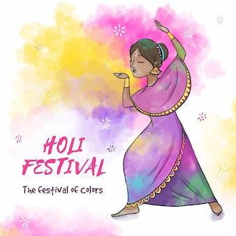 Disegno ad acquerello per il festival di holi